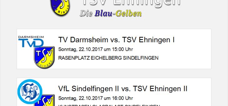 Auswärtsspiele in Darmsheim, Sindelfingen und Magstadt am 22.10.2017