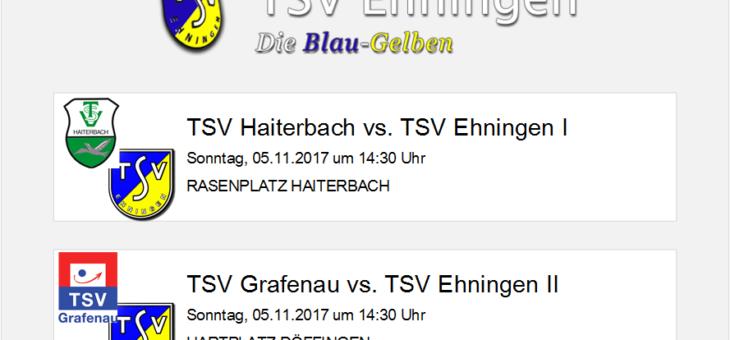 Auswärtsspiele in Haiterbach und Grafenau am Sonntag (5. November 2017)