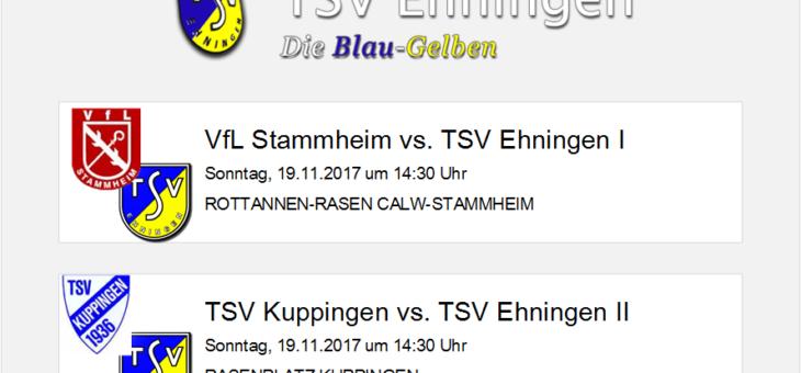 Auswärtsspiele in Stammheim und Kuppingen am Sonntag, 19. November 2017