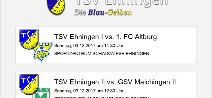 Heimspiele gegen Altburg und Maichingen am Sonntag, 3. Dezember 2017