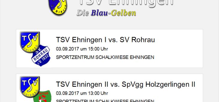 Heimspiele am Sonntag (3. September) gegen Rohrau und Holzgerlingen