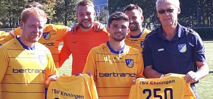 Marc Köneke und Dennis Grammozis für 250 Spiele im Trikot des TSV Ehningen geehrt