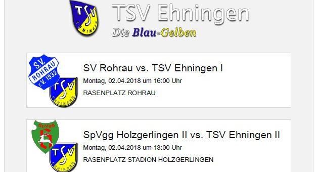 Auswärtsspiele in Rohrau und Holzgerlingen am Ostermontag (2. April 2018)