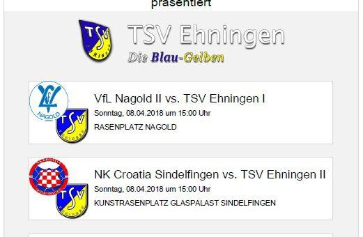 Auswärtsspiele in Nagold und Sindelfingen am Sonntag, 8. April 2018