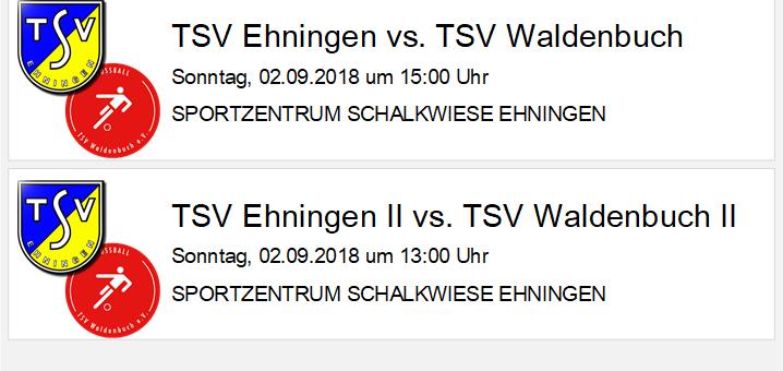 Heimspiele gegen Waldenbuch am Sonntag, 2. September 2018