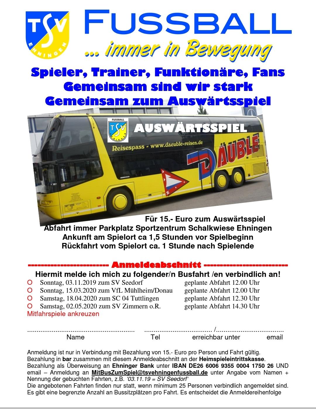 Busfahrten zu Auswärtsspielen
