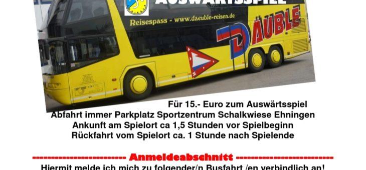 Busfahrten für Fans nach  Wittendorf (05.09.) und Zimmern (17.10.)